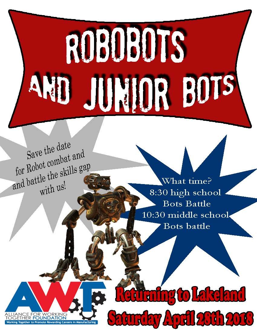 AWT RoboBots vechten tegen robotcompetitie 2018
