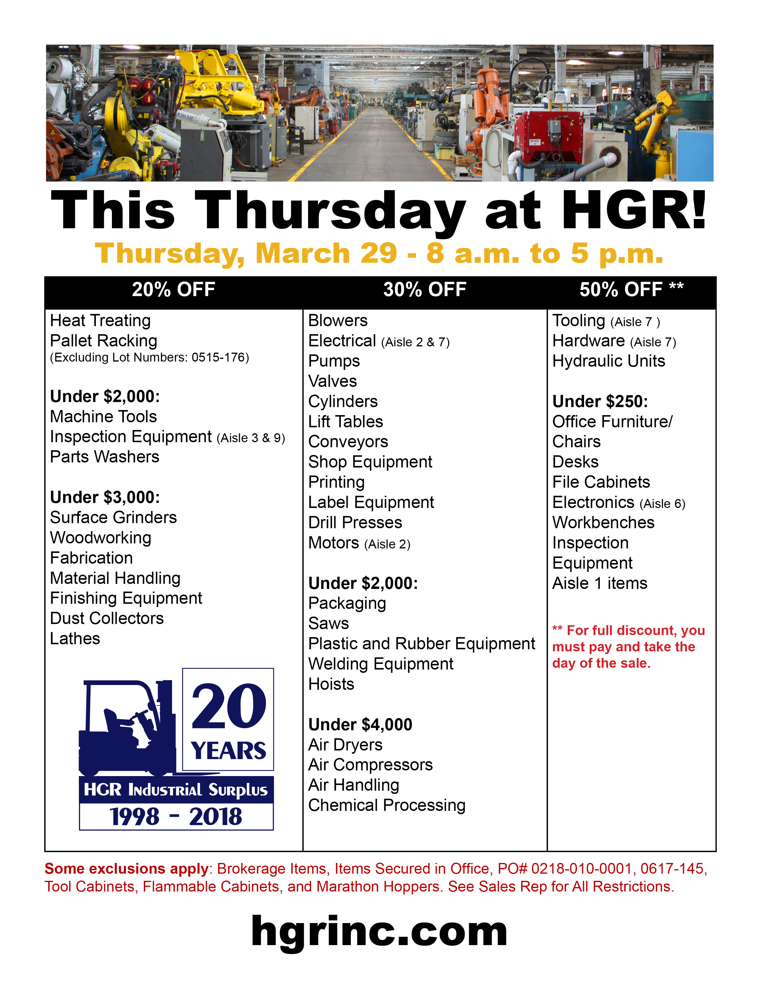 HGR Industrial Surplus March 2018 sale