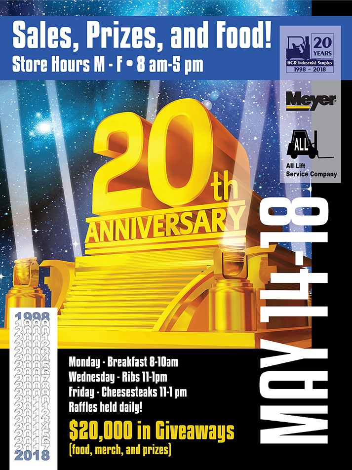 HGR Industrial surplus 20th anniversary flyer
