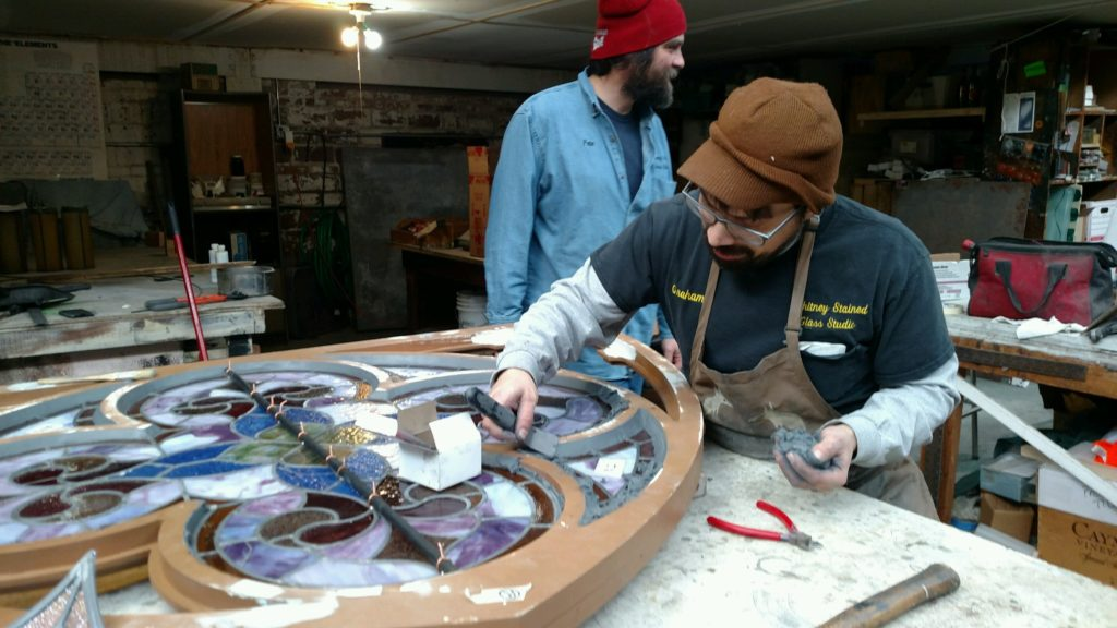 glass being restored at Whitney Stained Glass