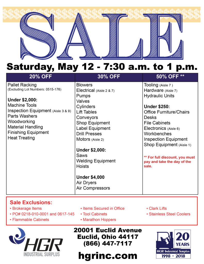 HGR Industrial Surplus May 2018 Saturday sale flyer