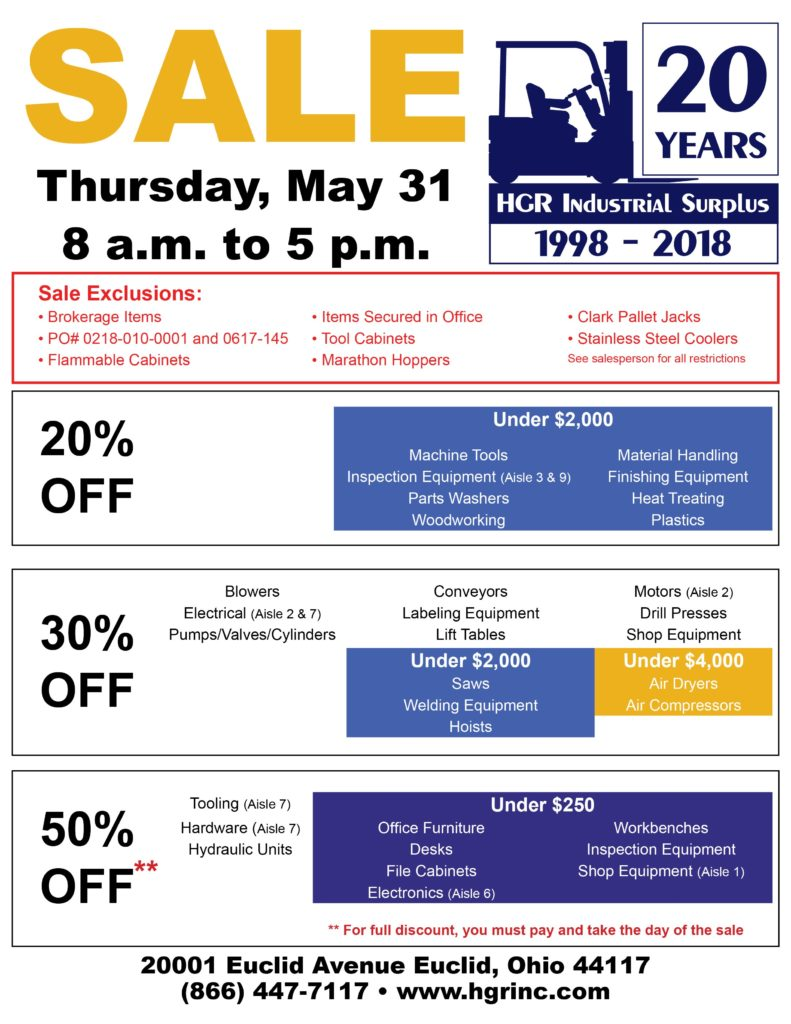 May 2018 HGR Industrial Surplus month-end sale flyer