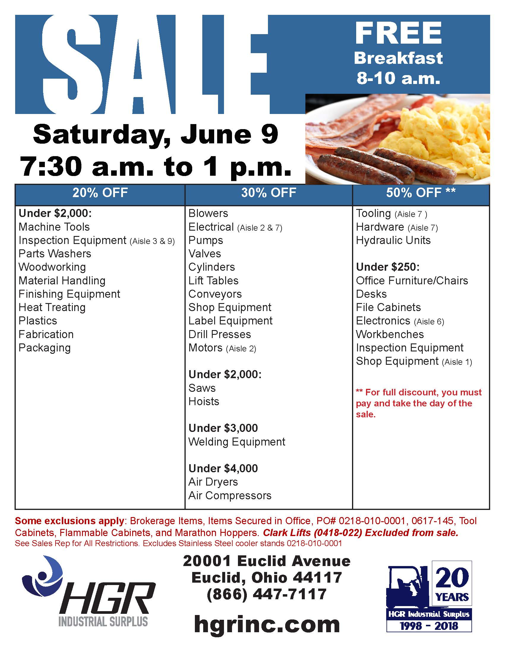 HGR Industrial Surplus' June 2018 Saturday sale flyer