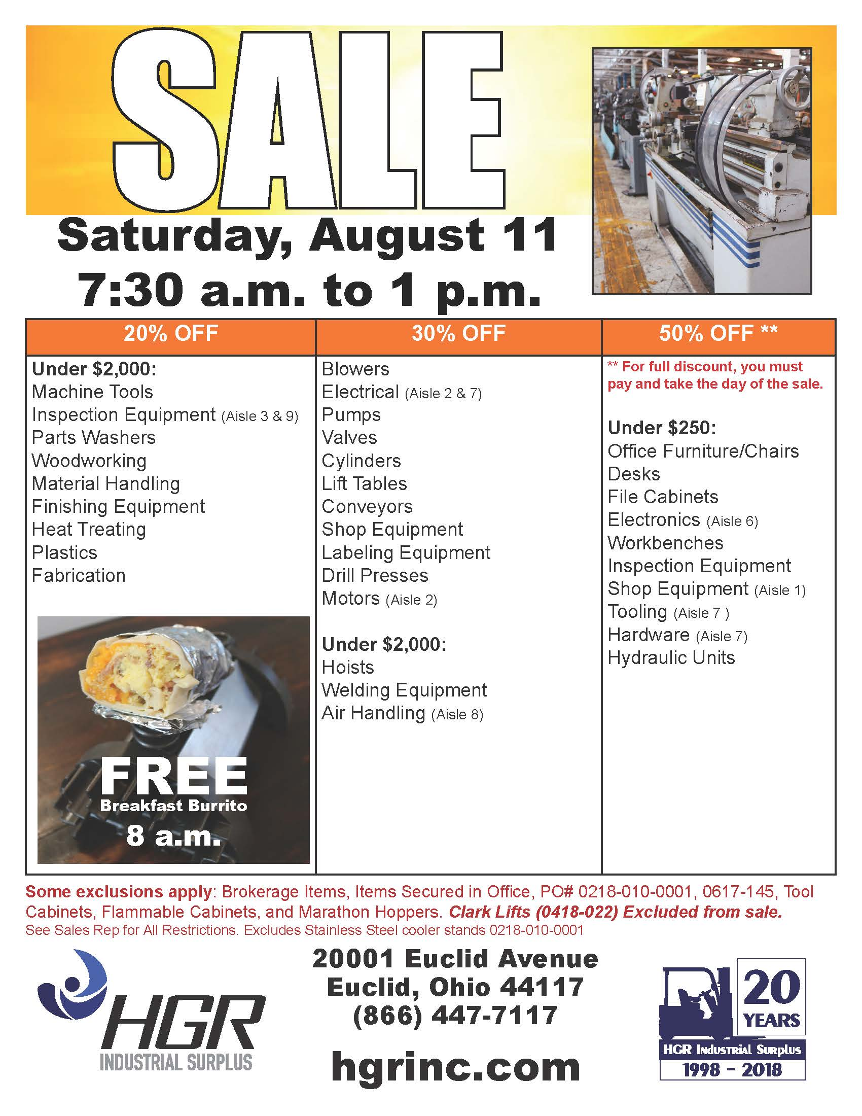 HGR Industrial Surplus August 2018 Saturday sale flyer
