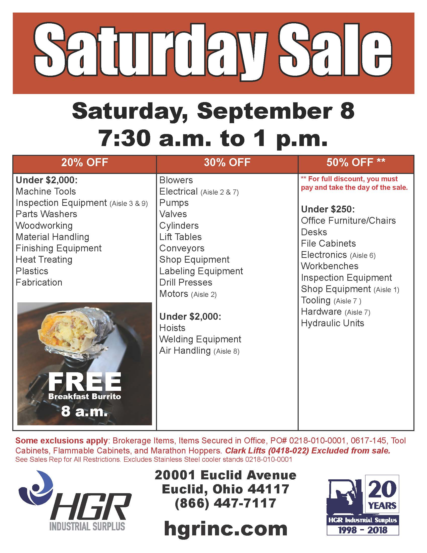 HGR Industrial Surplus September 2018 Saturday sale flyer