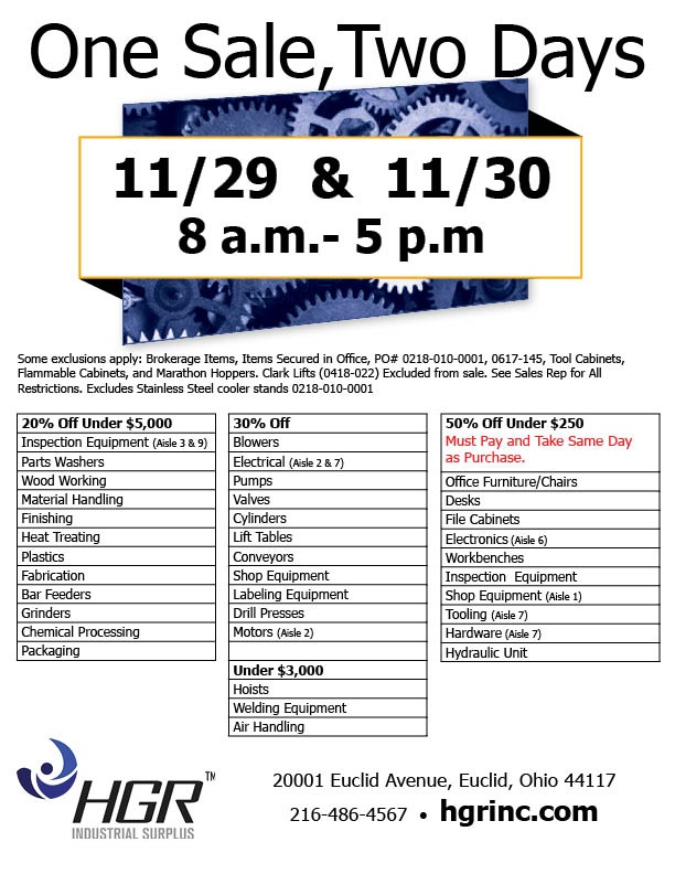 November 2018 HGR Industrial Surplus 2-day sale flyer